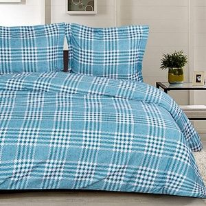 3 Pcs Queen Microfiber Duvet Cover Set, Green Grid